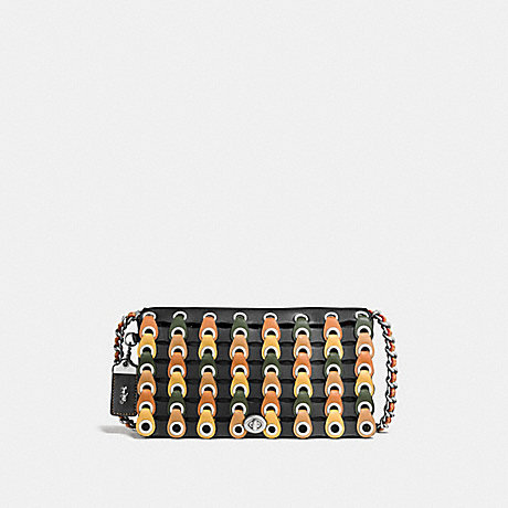 COACH F86831 DINKY WITH COLORBLOCK COACH LINK BLACK/FERN/LIGHT ANTIQUE NICKEL