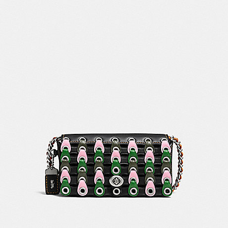 COACH F86832 DINKIER WITH COLORBLOCK COACH LINK LH/BLACK-KELLY-GREEN