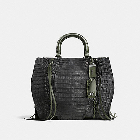 COACH F86837 ROGUE WITH WHIPSTITCH CROCODILE BP/DARK-MOSS-BLACK
