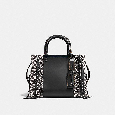 COACH F86839 ROGUE 25 WITH WHIPSTITCH SNAKESKIN BP/BLACK-CREAM