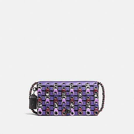 COACH F86855 DINKY WITH SNAKESKIN COACH LINK VIOLET MULTI/BLACK COPPER