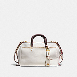 ROGUE SATCHEL IN GLOVETANNED PEBBLE LEATHER - f86857 - OLD BRASS/CHALK