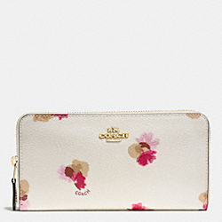COACH F86859 Accordion Zip Wallet In Field Flora Print Coated Canvas IMITATION GOLD/CHALK MULTI