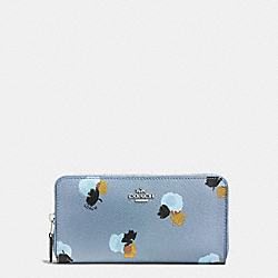 COACH F86859 Accordion Zip Wallet In Field Flora Print Coated Canvas SILVER/CORNFLOWER