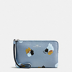 COACH F86926 Corner Zip Wristlet In Field Flora Print Coated Canvas SILVER/CORNFLOWER