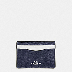 COACH F86927 Flat Card Case In Colorblock Crossgrain Leather SILVER/MIDNIGHT