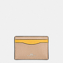 COACH F86927 Flat Card Case In Colorblock Crossgrain Leather SILVER/BEECHWOOD