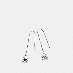 PADLOCK THREADER EARRING - f87032 - SILVER/BLACK
