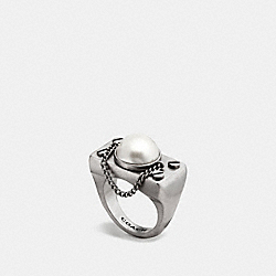 COACH F87041 Pearl Chain Ring SILVER/CHALK
