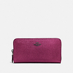 COACH F87071 Accordion Zip Wallet METALLIC MAUVE/MATTE BLACK