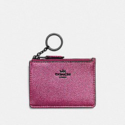 COACH F87077 - MINI SKINNY ID CASE METALLIC MAUVE/MATTE BLACK