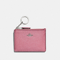 COACH F87077 Mini Skinny Id Case SV/GLITTER ROSE