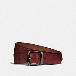 JEANS BUCKLE CUT-TO-SIZE REVERSIBLE BELT - F87091 - RED CURRANT/SADDLE
