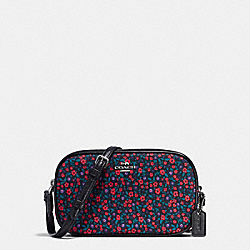 CROSSBODY POUCH IN RANCH FLORAL PRINT NYLON - f87094 - BLACK ANTIQUE NICKEL/BRIGHT RED