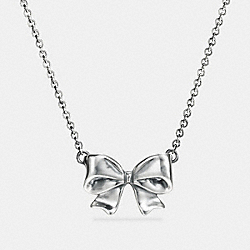 STERLING SILVER BOW NECKLACE - f87140 - SILVER
