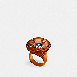 COACH F87156 Tea Rose Lucite Ring BLACK/AMBER
