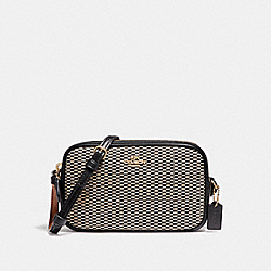 COACH F87217 Crossbody Pouch In Legacy Jacquard LIGHT GOLD/MILK
