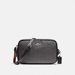 COACH F87217 Crossbody Pouch In Legacy Jacquard SILVER/GREY/BLACK