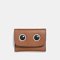 EYES CARD POUCH IN GLOVETANNED LEATHER - f87219 - SILVER/MULTICOLOR 1