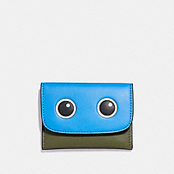 COACH F87219 Eyes Card Pouch In Glovetanned Leather SILVER/OLIVE MULTI