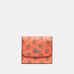 COACH F87223 Small Wallet In Forest Bud Print Coated Canvas SILVER/CORAL MULTI