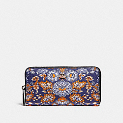 COACH F87224 Accordion Zip Wallet In Forest Flower Print Coated Canvas SILVER/BLUE