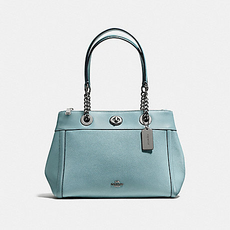 COACH f87239 TURNLOCK EDIE CARRYALL DARK GUNMETAL/CLOUD