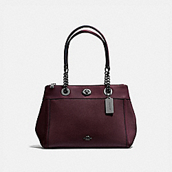 TURNLOCK EDIE CARRYALL - f87239 - OXBLOOD/DARK GUNMETAL