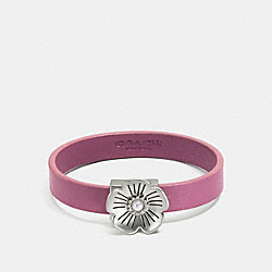 TEA ROSE LEATHER BRACELET - F87346 - PRIMROSE/SILVER