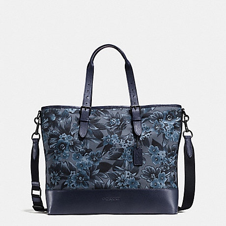 COACH f87397 MERCER TOTE IN FLORAL HAWAIIAN PRINT CANVAS BLUE HAWAIIAN FLORAL