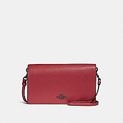 FOLDOVER CROSSBODY CLUTCH - f87401 - WASHED RED/DARK GUNMETAL