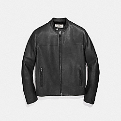 LEATHER RACER JACKET - f87432 - BLACK