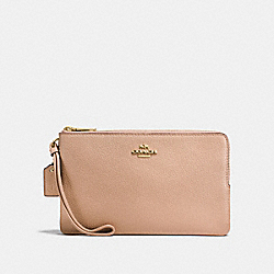 COACH F87587 Double Zip Wallet In Polished Pebble Leather IMITATION GOLD/NUDE PINK