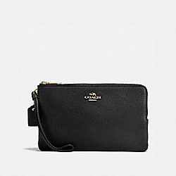 COACH F87587 Double Zip Wallet In Polished Pebble Leather IMITATION GOLD/BLACK