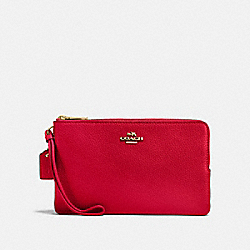 COACH F87587 - DOUBLE ZIP WALLET IM/BRIGHT RED