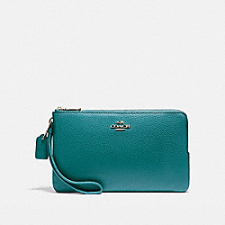 COACH F87587 Double Zip Wallet In Polished Pebble Leather LIGHT GOLD/DARK TEAL