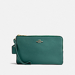 COACH F87587 - DOUBLE ZIP WALLET DARK TURQUOISE/LIGHT GOLD