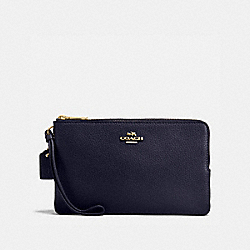 COACH F87587 Double Zip Wallet In Polished Pebble Leather IMITATION GOLD/MIDNIGHT
