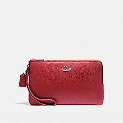 COACH F87587 Double Zip Wallet LIGHT GOLD/DARK RED