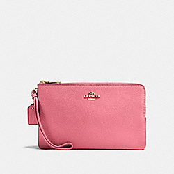 COACH F87587 Double Zip Wallet PEONY/LIGHT GOLD