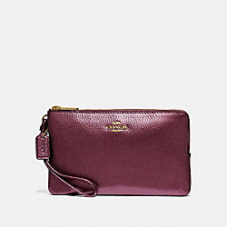 COACH F87587 - DOUBLE ZIP WALLET IM/METALLIC WINE