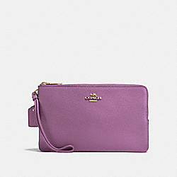 COACH F87587 Double Zip Wallet PRIMROSE/LIGHT GOLD
