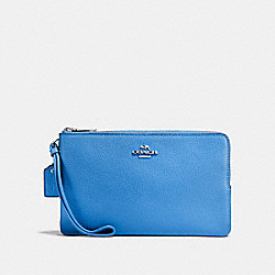 COACH F87587 Double Zip Wallet BRIGHT BLUE/SILVER