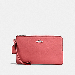 COACH F87587 Double Zip Wallet CORAL 2/SILVER