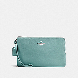 COACH F87587 Double Zip Wallet SILVER/AQUAMARINE