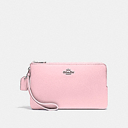 COACH F87587 Double Zip Wallet SILVER/BLUSH 2