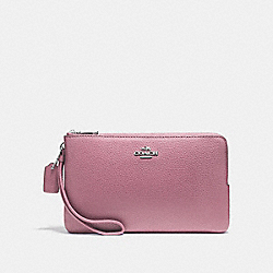 COACH F87587 Double Zip Wallet In Polished Pebble Leather SILVER/LILAC