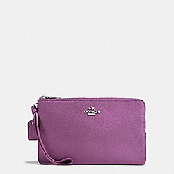 COACH F87587 Double Zip Wallet In Polished Pebble Leather SILVER/MAUVE