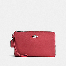 COACH F87587 Double Zip Wallet WASHED RED/SILVER