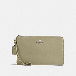 COACH F87587 Double Zip Wallet LIGHT CLOVER/SILVER